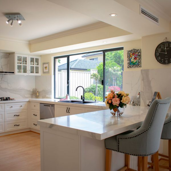 Bright open kitchen wooden flooring